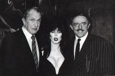 John Astin with Vincent Price and Elvira. ahhh VInnie is an absolute beast and Elvira and John? ugh love