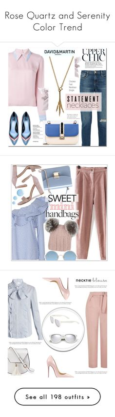 """Rose Quartz and Serenity Color Trend"" by yours-styling-best-friend ❤ liked on Polyvore featuring Frame, Roksanda, Valentino, Lanvin, Johanna Ortiz, Eugenia Kim, Sunday Somewhere, Topshop, mini and handbags"