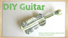 In this video I will show you step by step how to fold this Dollar Origami Guitar. All you need is a single dollar bill. Origami Love, Origami Folding, Origami Ideas, Paper Folding, Easy Origami, Book Folding, Paper Crafts Origami, Diy Paper, Origami Guitar