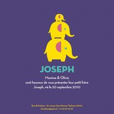 Faire-part naissance (baby announcement) : 3 éléphants jaunes - by Marion Bizet pour http://www.fairepartnaissance.fr #naissance #fairepart #birth
