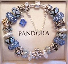 "Authentic PANDORA Sterling Silver Charm Bracelet 8.3"" BLUE BLACK & SILVER"