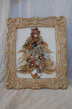Vintage-Jewelry-Framed-Christmas-Tree-champagne-gold-aqua-topaz-pink-glam