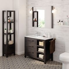 50 Fotos de móveis para casa de banho pequena ~ Decoração e Ideias Single Vanity Units, Corner Vanity Unit, Free Standing Vanity, Wall Mounted Vanity, Bowl Designs, Mirror Cabinets, Solid Pine, Solid Wood, Cabinet Handles