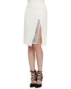 Mendel Envelope Skirt with Lace Embroidery, Ivory Slit Skirt, Blouse And Skirt, Blouse Dress, Dress Skirt, Diy Fashion, Fashion Dresses, Womens Fashion, Fashion Design, Fashion Trends