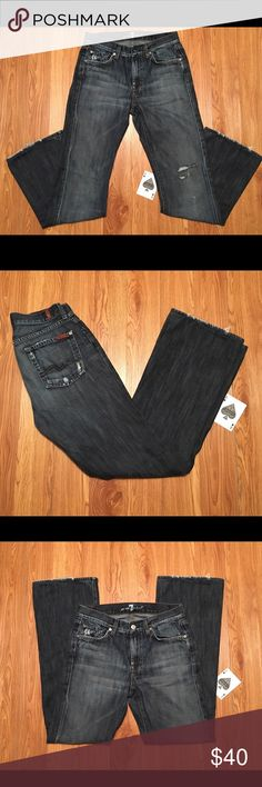 """7 For All Mankind Distressed Bootcut Jeans Size 28 7 FAM Distressed Dark Wash Bootcut Jeans Size 28, Measured At 28x31 With A 9"""" Rise. In Great Condition With A Rocker Distressed Look. 7 For All Mankind Jeans Boot Cut"""