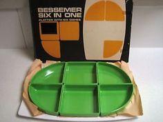Retro Bessemer Europa SIX IN ONE Green Platter NEW IN BOX   eBay Platter, Tray, Melamine Dinnerware, Retro Vintage, Box, Green, Snare Drum, Trays, Board