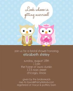 Modern Owl Bridal Shower Invitations