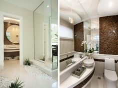 Hall de banheiros/lavabos - veja dicas e ambientes lindos com essa tendência! - Decor Salteado - Blog de Decoração e Arquitetura