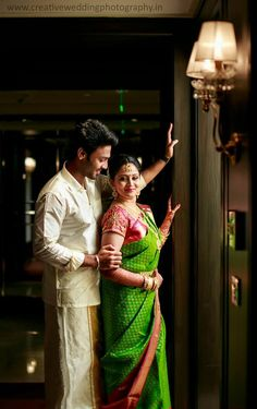 Green with Pink border kancipuram silk saree Indian Wedding Poses, Indian Wedding Couple Photography, Pre Wedding Poses, Wedding Picture Poses, Wedding Couple Photos, Couple Photography Poses, Pre Wedding Photoshoot, Bridal Photography, Dc Photography
