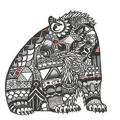 Spectacled Bear, an art print by Littlest Finch Spectacled Bear, Finding Peace, All Art, Zentangle, Creatures, Fancy, Art Prints, Print Poster, Gallery