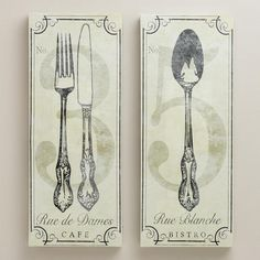 One of my favorite discoveries at WorldMarket.com: Vintage-Style French Bistro Wall Art, Set of 2
