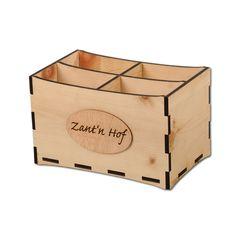 Besteckbehälter mit Logogravur auf Holzstanzling Toy Chest, Storage Chest, Toys, Decor, Menu Cards, Decorating, Toy, Toy Boxes, Inredning