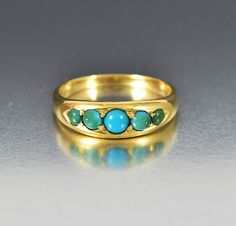 Charming antique Victorian Persian turquoise five stone wedding band ring…