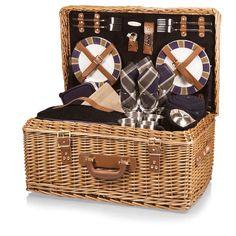 Picnic Time Windsor Traditional English Basket Style Luxury Picnic Suitcase