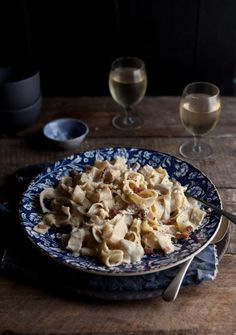 Pappardelle with a creamy cauliflower, blue cheese and bacon sauce