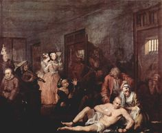 "Casa de locos (""Mad house""). William Hogarth. 1735. Localización: Sir John Soane's Museum (Londres). https://painthealth.wordpress.com/2016/03/15/casa-de-locos/"