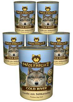 Wolfsblut Nassfutter: Cold River mit Forelle und Süßkartoffel. Harry schmeckt's! #wolfsblut #nassfutter #healthfood24