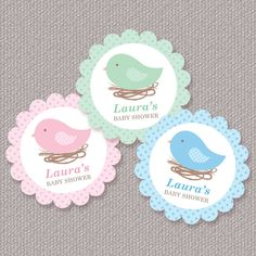 Bird Nest Baby Shower Cupcake Toppers.  I'd use them on picks for food.