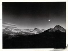 Ansel Adams, Autumn Moon, the High Sierra from Glacier Point (1948) - Google Search