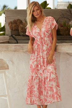 0f48bc72c2 SERENA MAXI DRESS PALM CORAL Stand out from the crowd with our beautifully  bold and colourful