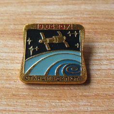 Vintage Space Pin, Cosmos Exploration, Space Badge, Space Collectible, Rocket Astronaut Antique, Moon Exploration, Salyut Station https://www.etsy.com/shop/MyBootSale