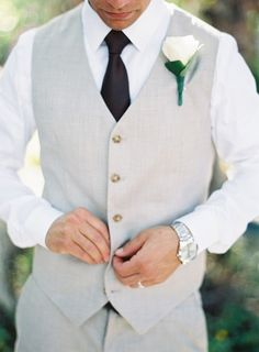 Groom Wearing Vest and Tie   Michael and Carina Photography on @bajanwed via @aislesociety