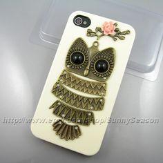 IPhone 4 case,Iphone 4s case,Cute Owl Resin Flower On The White iphone 4/4s Hard Case,owl on the branch