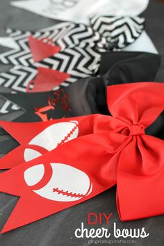 This post is brought to you by Cricut . Affiliate links are used for your convenience. How about some football? Softball Bows, Cheerleading Bows, Softball Hair, Cheer Hair Bows, Diy Hair Bows, Cheer Bow Tutorial, Making Hair Bows, Bow Making, Red Hair Bow