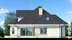 Projekt domu Dom pod juką 4 - ARCHON+ 3d House Plans, Modern Bungalow House, Facade Design, Design Case, Minimalist Home, Outdoor Decor, Villas, Home Decor, Beautiful Modern Homes