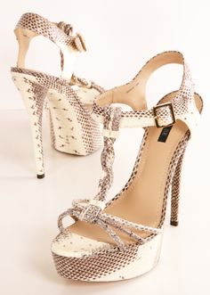 "Rachel Zoe Valerie Open-Toe Beige Snakeskin Platform Heels- Snakeskin platform heels with braided T-strap and open toe design. Self-covered heel, 6"" (150mm). Self-covered platform, 1½"" (40mm). Adjustable ankle strap. Snakeskin upper. Leather lining and sole. Padded insole."