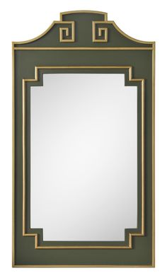 Hand Applied Distressed Green & Gold finish, Non-Beveled mirror, Hanging Hardware Included