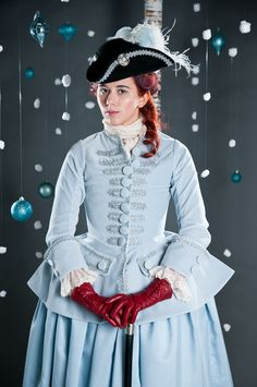 1740s-50s powder blue riding habit based on Janet Arnold's Patterns of Fashion 1. Model - Lauren Wills. Costume by American Duchess