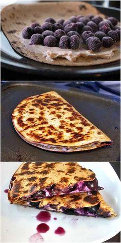 Blueberry Breakfast Quesadilla. I can use vegan cream cheese...