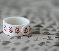 Sprouts Red Porcelain Ring by ArtMind on Etsy, €24.00