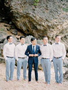 Mia and David's Cliff Top Wedding in Bali by Angga Permana and Voir Pictures Blue Beach Wedding, Beach Wedding Flowers, Bali Wedding, Wedding Men, Wedding Suits, Wedding Attire, Beach Wedding Groomsmen, Wedding Entourage, Wedding Ideas