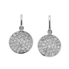Flat Disc Diamond Earring 12MM