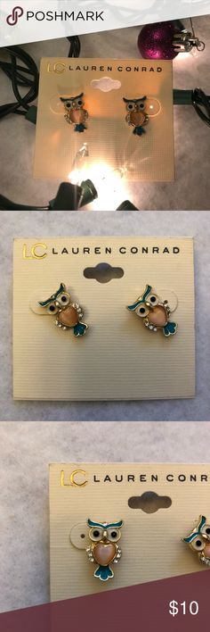 NWT Lauren Conrad Earrings My friend gave these to me for my birthday, but my ears aren't currently pierced, so I didn't wear them. They are brand new and in perfect condition. They are made of a gold color metal. The blue parts of the owl and its eyes are ab enamel paint, the wings are clear rhinestones, and the body is a light pink heart shaped stone. These are a wonderful gift for someone who loves animals or as a gift to yourself.  Feel free to ask me any questions you have in the…