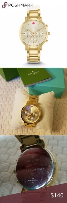 Kate Spade Gramercy Chronograph Gold Watch In like-new condition, plastic peel-y things are still attached and I have not altered it to fit my wrist. Battery works.  Amazing timepiece but I'm not a huge fan of gold.   No trades please kate spade Accessories Watches
