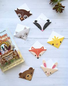 DIY woodland animals origami bookmarks {print + fold} - It's Always Autumn Cute folded bookmarks! Seven different woodland animal origami bookmark templates. Just print, cut, Origami Simple, Kids Origami, Origami Star Box, Origami Love, Origami Fish, Useful Origami, Origami Art, Origami Flowers, Dollar Origami