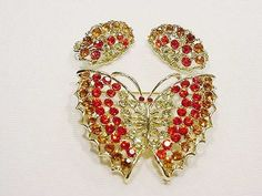 Vintage Sparkling Butterfly Pin &Matching Earrings All Open Work DYNAMITE !!