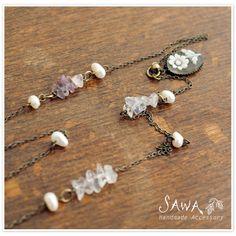 【SAWA サワ】 お花柄カメオの ネックレス (n-20)