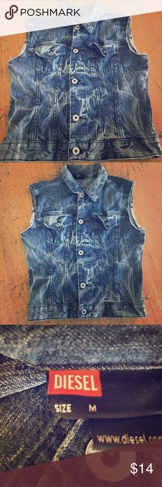 "DIESEL DENIM VEST SZ M UNISEX DISTRESSED Diesel denim vest. SZ m. Unisex   Pre owned, excellent condition. No rips, stains or defects. Smoke free home. Please check measurements provided.  ARMPIT TO ARMPIT FLAT SIDE TO SIDE: 18"". Length from top of shoulder to bottom of vest: 20 1/2"" Shoulder to shoulder at widest:  16 1/4"" Made in Italy. 100% cotton. Slight stretch.  Thanks for stopping by! Happy Poshing! ☮️🌷❤ Picture of man is wearing a ""similar"" diesel vest. Diesel Jackets & Coats Vests"