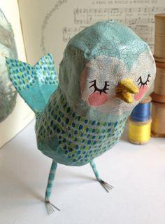 Blue bird of happiness paper mache sweetie by heartsandneedles