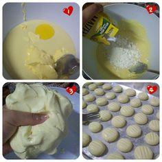 Para minha total surpresa, os tais biscoitinhos são superrrrr fáceis de fazer! Muito simples e rápido também!  Eu precisei de:  1 gema de ovo 1/2 lata de leite condensado 80g