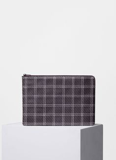 Solo Check Clutch Pouch in Stitched Smooth Lambskin - Céline