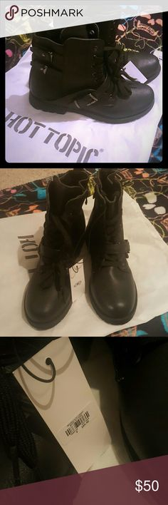 NWT ankle buckle boots Brand new with tags ankle boots Buckles on the sides and zipper closure  Goth Doc Martin  Gothic Rave  Punk rock  Boots Hot Topic Shoes Ankle Boots & Booties