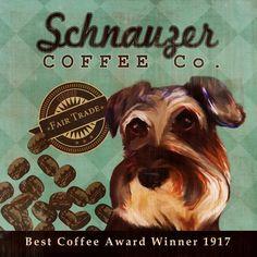 Schnauzer Coffee Co 12X12 Modern Vintage Giclee by LegacyHouseArt. $38.95, via Etsy.