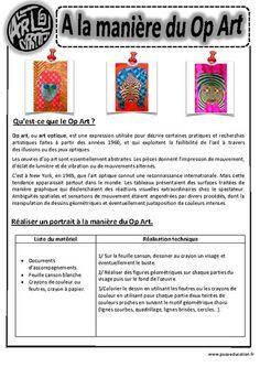 A la manière du op art - Art optique - Portraits - Ce1 - Ce2 – Cm1 – Cm2 – Arts visuels – Cycle 3 Plus