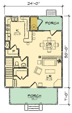 Four Square Classic - floor plan - Main Level Square House Plans, Narrow Lot House Plans, Small Floor Plans, Two Story House Plans, Two Story Homes, Architectural Design House Plans, Architecture Design, Little Dream Home, U Shaped Kitchen
