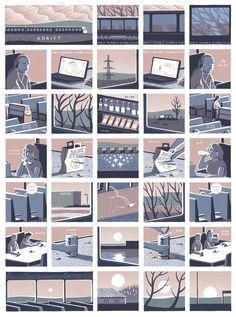 Double page spread for Jon McNaught's illustrated graphic narrative Adrift for Art Review Magazine.